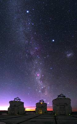 Trio Photograph - Milky Way Over Vlt Telescopes by Babak Tafreshi