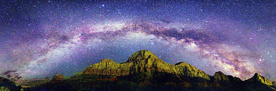 Milky Way Over Zion National Park Art Print by Walter Pacholka, Astropics