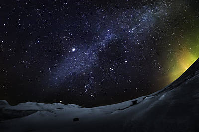 Cold Temperature Photograph - Milky Way With Aurora Borealis Or by Panoramic Images