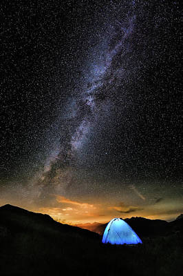Photograph - Milky Way With Night Camp by Andrea Meneghel