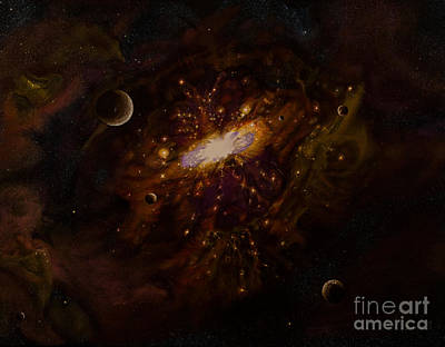 Star Burst Painting - Milky Way by Zina Stromberg