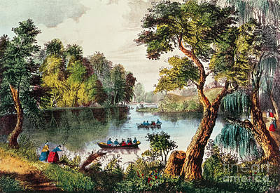 Mill Cove Lake Art Print by Currier and Ives