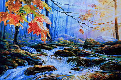 Maple Leaf Art Painting - Mill Creek Autumn Sunrise by Hanne Lore Koehler