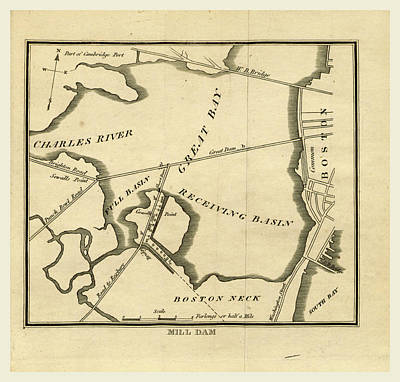 Dam Drawing - Mill Dam A Survey Of Boston And Its Vicinity by Litz Collection