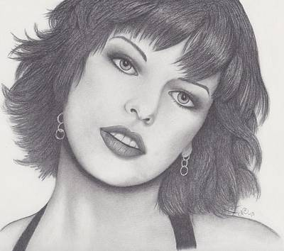 Famous Residents Drawing - Milla Jovovich by Nancy Esposito