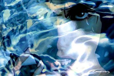 Digital Art - Milla Jovovich Portrait - Water Reflections Series by Gabriel T Toro