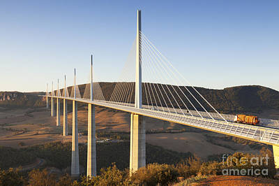 Photograph - Millau Viaduct At Sunrise Midi Pyrenees France by Colin and Linda McKie