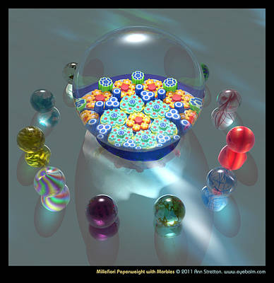 Millefiori Digital Art - Millefiori Paperweight With Marbles  by Ann Stretton