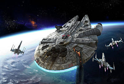 Science Fiction Royalty-Free and Rights-Managed Images - Millenium Falcon Being Escorted by Kurt Miller