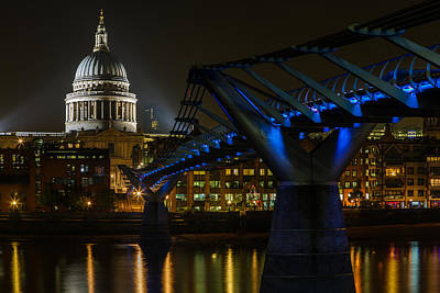 London Skyline Royalty-Free and Rights-Managed Images - Millennium bridge London at night by Izzy Standbridge