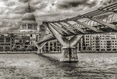 Millennium Bridge St. Paul's Cathedral London Art Print by Bruce Ingwall