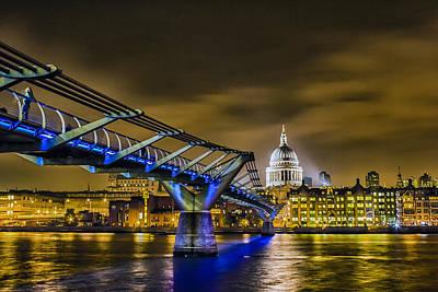 London Skyline Photograph - Millennium Bridge With St Pauls by Ian Hufton