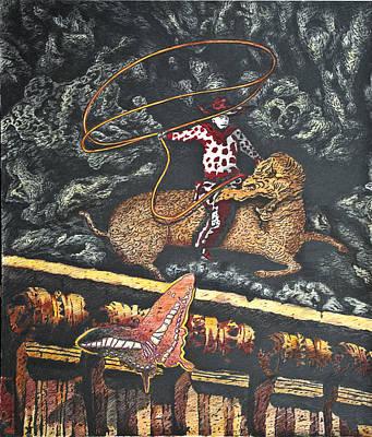 Surrealism Drawing - Millennium  Cowboy by Larry Butterworth
