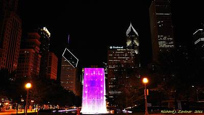 Photograph - Millennium Park Fountain Purple by Richard Zentner