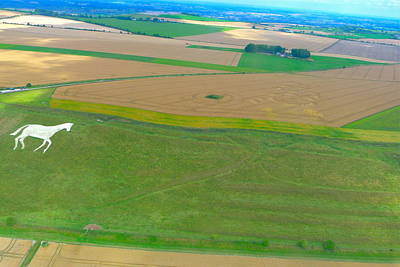 Photograph - Millennium White Horse And Crop Formation by Denise Mazzocco