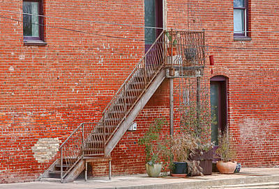 Pl Photograph - Miller Building Outdoor Staircase by Linda Phelps