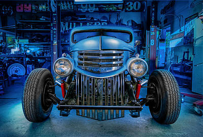 Old Hotrod Photograph - Millers Chop Shop 1946 Chevy Truck by Yo Pedro