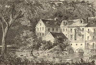 Grist Mill Drawing - Mills At Rockland Ny 1869 Engraving By John Filmer by Antique Engravings