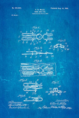 Mills Hook And Eye Patent Art 1900 Blueprint Art Print
