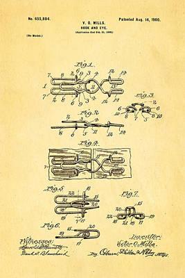 Mills Hook And Eye Patent Art 1900 Art Print