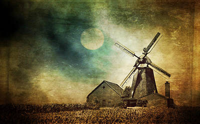 Mill In The Night Art Print by Heike Hultsch