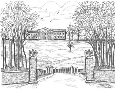 Hyde Park Drawing - Mills Mansion Staatsburg by Richard Wambach