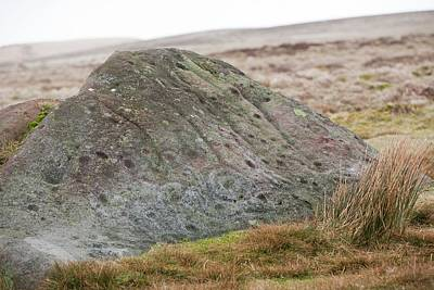 Ancient Symbols Photograph - Millstone Grit Boulder by Ashley Cooper