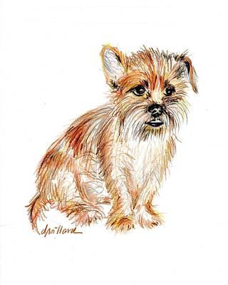 Milo Waits Patiently Art Print by Deborah Willard