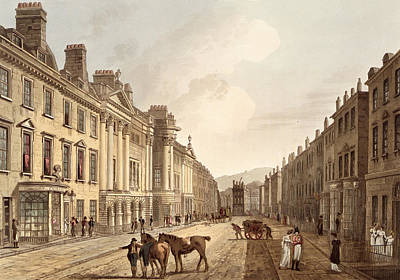 Austen Drawing - Milsom Street, From Bath Illustrated by John Claude Nattes
