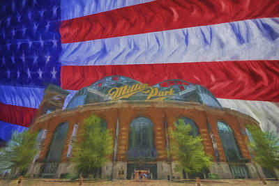 Photograph - Milwaukee Breers Miller Park Digitally Painted Flag 3 by David Haskett