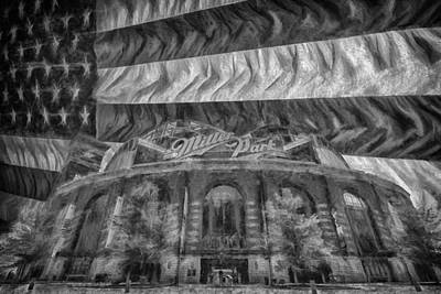 Photograph - Milwaukee Brewers Miller Park Flag Bnw Painted Digitally 2 by David Haskett II