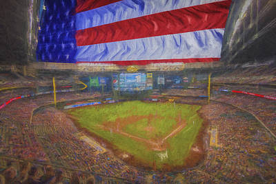 Photograph - Milwaukee Brewers Miller Park Flag Digitally Painted 4 by David Haskett