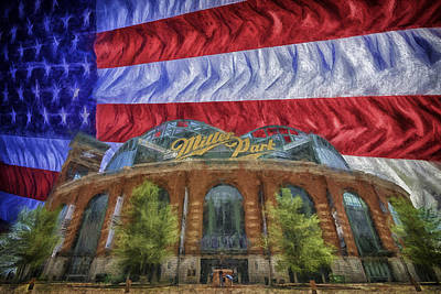 Photograph - Milwaukee Brewers Miller Park Flag Painted Digitally 1 by David Haskett