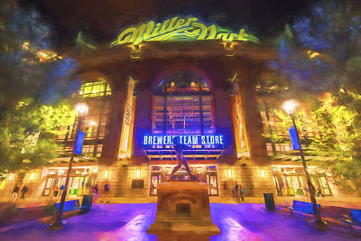 Milwaukee Brewers Miller Park Painted Digitally Art Print