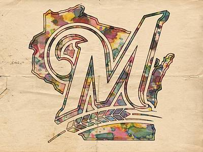 Painting - Milwaukee Brewers Poster Art by Florian Rodarte