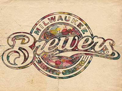 Painting - Milwaukee Brewers Poster Vintage by Florian Rodarte