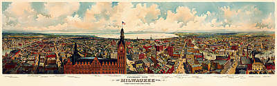 Beautiful Vistas Drawing - Milwaukee Panorama 1898 by Mountain Dreams