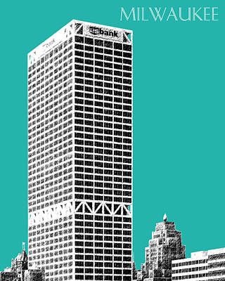 Milwaukee Skyline 1 - Teal Art Print by DB Artist