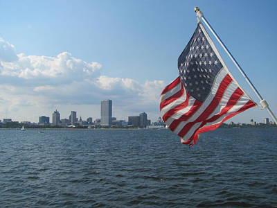 Grace Kelly - Milwaukee Skyline and Flag by Anita Burgermeister