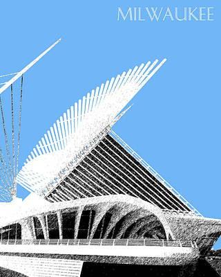 Pen Digital Art - Milwaukee Skyline Art Museum - Light Blue by DB Artist