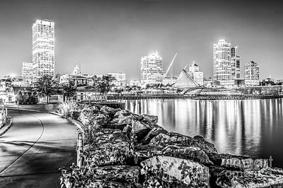 Milwaukee Skyline At Night Black And White Photo Art Print