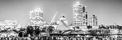 Milwaukee Skyline Photograph - Milwaukee Skyline At Night Panorama In Black And White by Paul Velgos