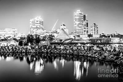 Milwaukee Skyline Photograph - Milwaukee Skyline At Night Photo In Black And White by Paul Velgos