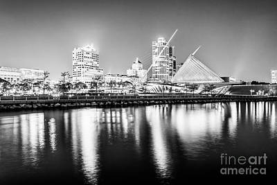 Milwaukee Skyline Photograph - Milwaukee Skyline At Night Picture In Black And White by Paul Velgos