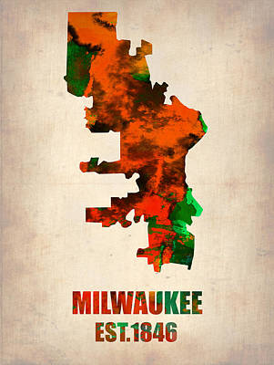 Modern Poster Painting - Milwaukee Watercolor Map by Naxart Studio
