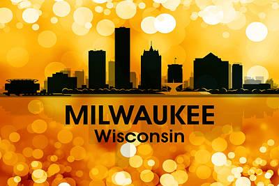 Abstract Skyline Mixed Media - Milwaukee WI 3 by Angelina Tamez