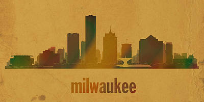 Milwaukee Wisconsin City Skyline Watercolor On Parchment Art Print