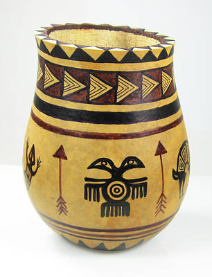 Mixed Media - Mimbres Tribal Hand-painted Gourd Vase by Vagabond Folk Art - Virginia Vivier
