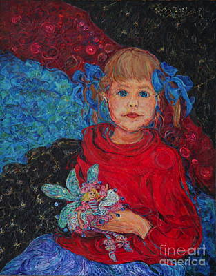Painting - Mimi With Her Thumbelina Doll by Anna Yurasovsky