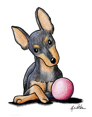 Pinscher Drawing - Min Pin With Ball by Kim Niles